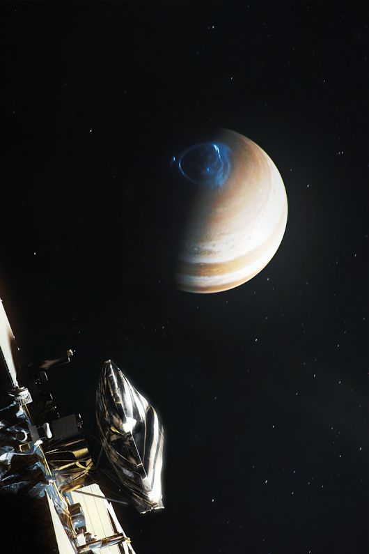 Artist's interpretation of Juno approaching the northern