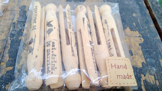 Large Vintage Decorative Pegs ' Eat. Drink. Be Married 6 PC