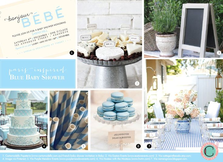 French Baby Shower Inspiration Board: Bonjour Bébé in shades of blue.