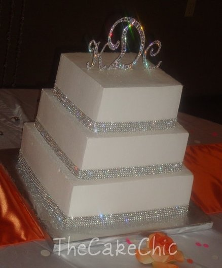 bling wedding cake with rhinestone ribbon