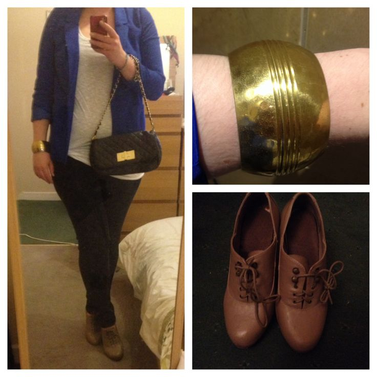Girls night outfit: Electric blue blazer from H&M, grey tank (under white one) from TopShop, white long tank from H&M, indigo skinny jeans from Penneys (Primark), lace up high heel brogues from New Look, large gold bangle & black quilted bag (with the chain strap knotted to shorten it) both from Penneys.  ciaraspillsthings.wordpress.com