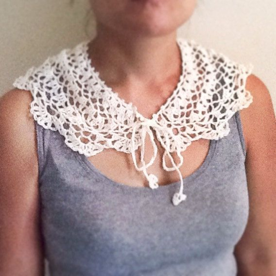 Handmade crochet linen collar necklace  White/ Creme by LOLAsHome, $26.00