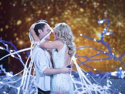 "A surprise proposal in the ""Dancing with the Stars"" ballroom! Sasha Farber popped the question to fellow pro-dancer Emma Slater during the show."
