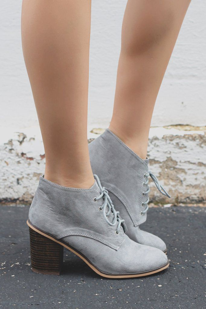 Good News! The perfect pair of plain and simple booties that your closet needs is here! Our Good News Booties are a pair of faux suede, almond toe ankle booties with a lace up front, chunky heel and s