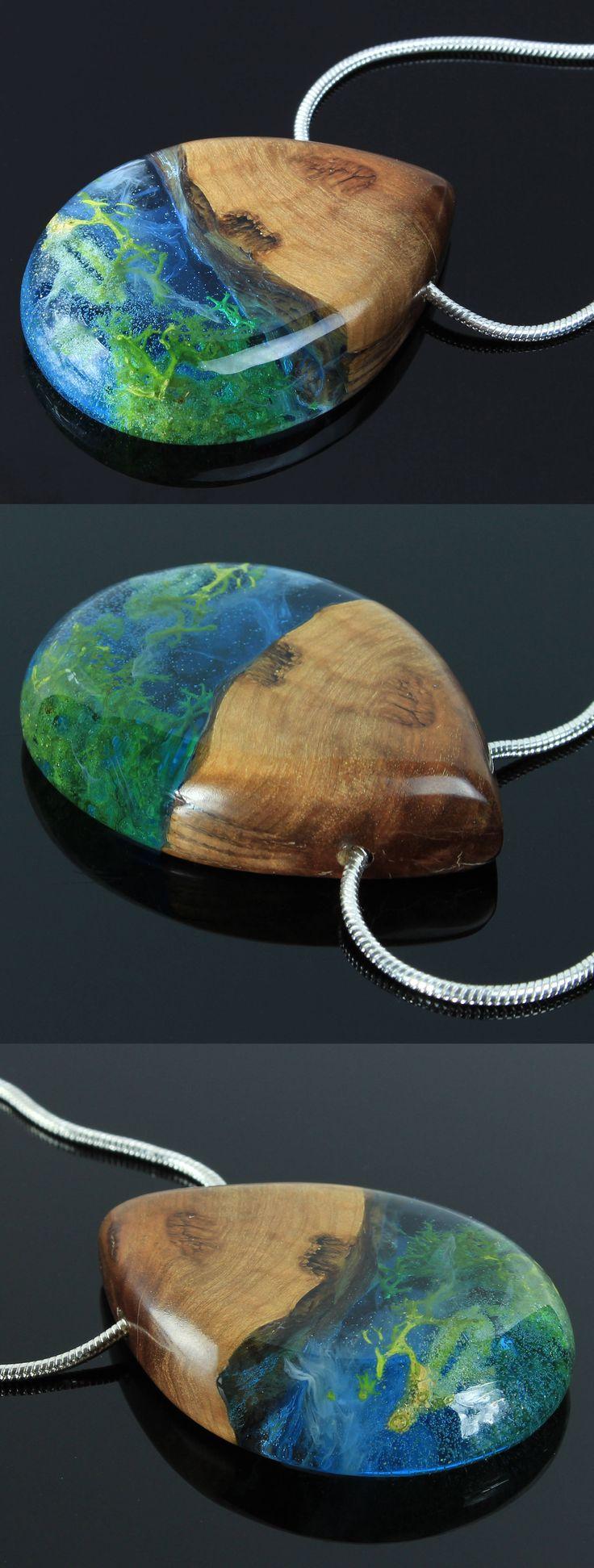 Real moss pendant.Handmade wood and resin jewelry by WoodAllGood. #WoodAllGood