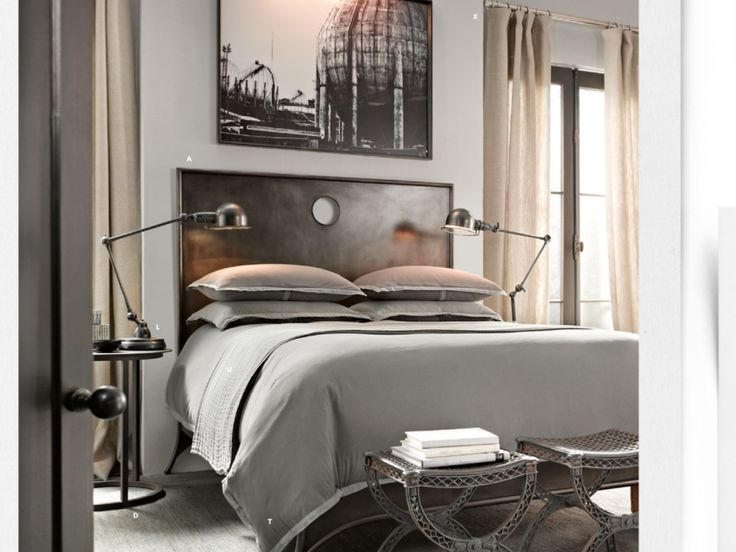 Great masculine bedroom: Interior, Restoration Hardware, Dream, Filigree Stool, Bedrooms, Bedroom Designs, Industrial Bedroom