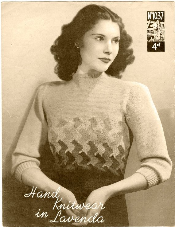 VINTAGE SWEATER PATTERN 1930s Womens Sweater knitting 127 instant download