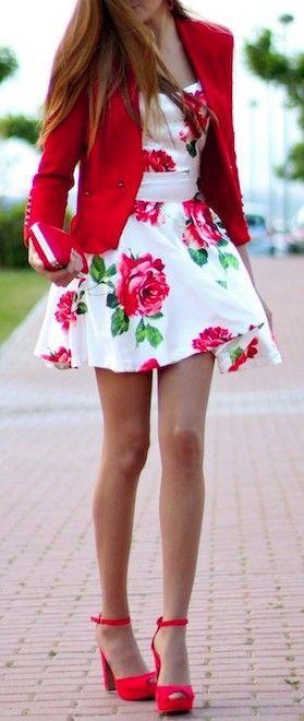 #street #style red blazer + white floral print dress / summer @wachabuy