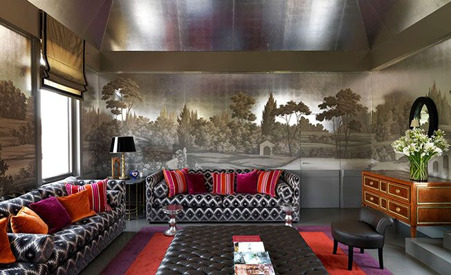 Modern mural wallpaper 'Landscape around Rome' design from Misha wallpaper, hand painted on Silver Leaves silk.
