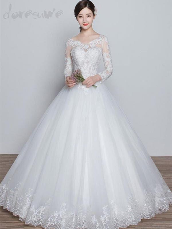 Doresuwe.com SUPPLIES 新作袖付き背中開きAライン甘美着心地最高のウェディングドレス 花嫁ドレス 2016 ウェディングドレス
