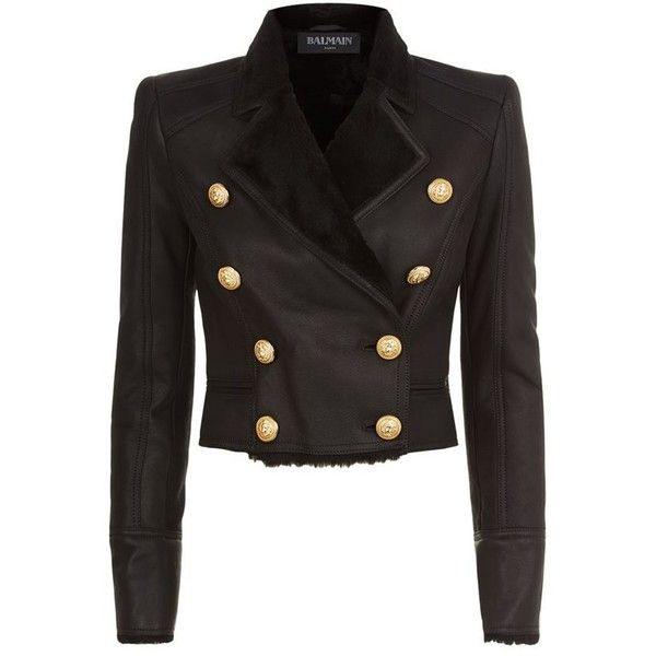 Balmain Shearling Crop Jacket ($3,320) ❤ liked on Polyvore featuring outerwear, jackets, cropped jacket, balmain jacket, shearling jacket and balmain