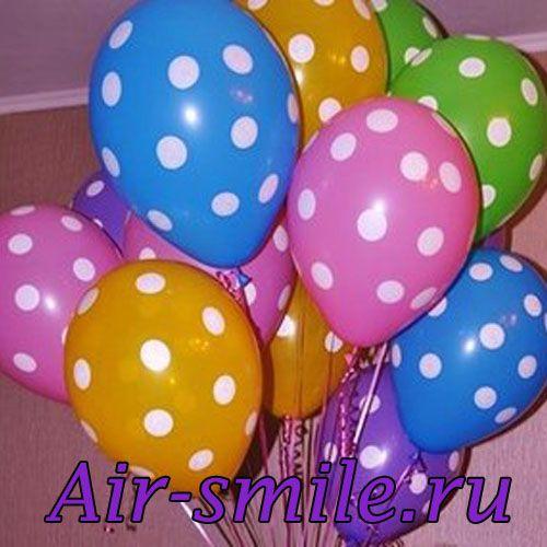 гелиевые шары с горошинами. дизайнерские воздушные шары, гелиевые шары в горошек, разноцветные гелиевые шары