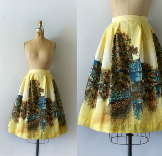 ON HOLD 1950s Vintage Skirt  50s Cotton Storybook by Sweetbeefinds $118