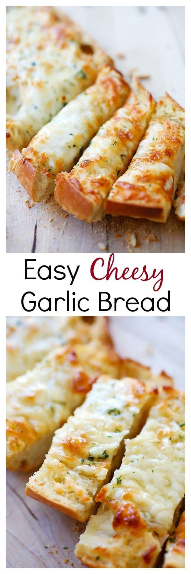 Easy Cheesy Garlic Bread – Turn regular Italian bread into buttery & cheesy garlic bread with this super easy recipe that takes only 20 mins   http://rasamalaysia.com