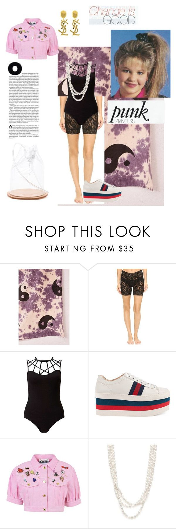 """clubhouse vibes"" by niania-long ❤ liked on Polyvore featuring Urban Outfitters, Hanky Panky, Miss Selfridge, Gucci, Moschino, Bloomingdale's, Yves Saint Laurent and Building Block"