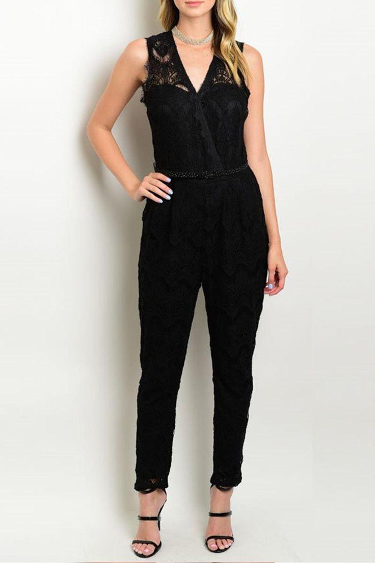 "Sleeveless jumpsuit features lace detail on yoke.    Size Scale: S-M-L Description: L: 55"" B: 30"" W: 28"" I.S.: 26""   Black Jumpsuit by Potter's Pot. Clothing - Jumpsuits & Rompers - Jumpsuits Canada"