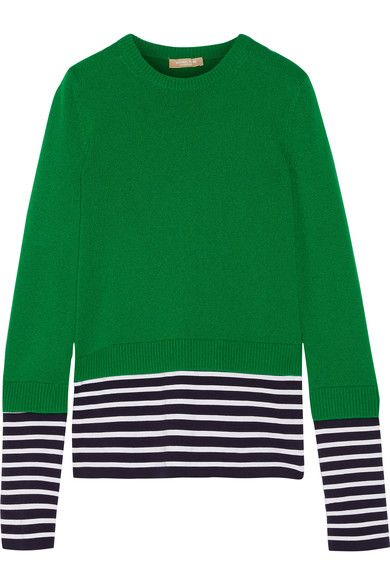 Green cashmere and cotton-blend, navy and white jersey Slips on 80% cashmere, 20% cotton Dry clean