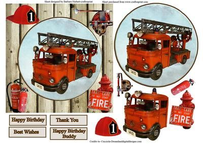 Fireman Rescue Equipment Topper Decoupage on Craftsuprint - Add To Basket!