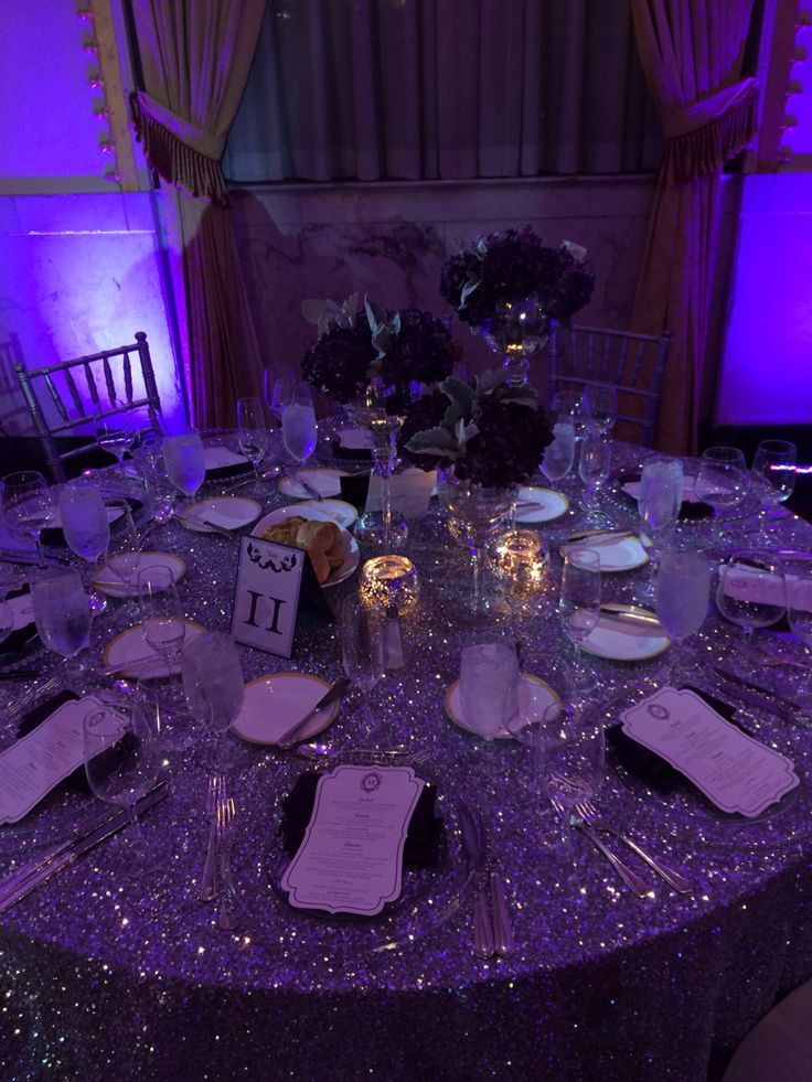 Silver Sequins Table Linen & Decor | LeAmber + Christopher Wedding | The Mayflower Hotel Wedding | Photography | DC Wedding | Wedding Planning by Favored by Yodit Events | DC Wedding Planner | Purple Wedding | Luxe Wedding | African American Wedding