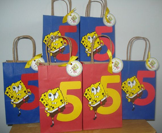 1 Spongebob favor bag by ThePartyGlamBoutique on Etsy, $2.75