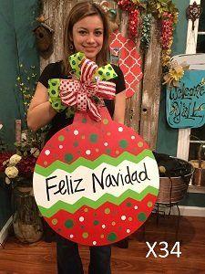 X34 - Feliz Navidad Door Hanger - Christmas Ornament Door Hanger - Christmas Door Decor