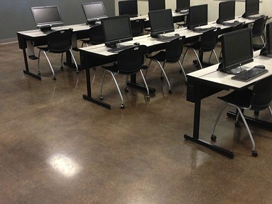 Polished And Dyed Concrete Floor. Career U0026 Technology High School. Products  Used: SCOFIELD