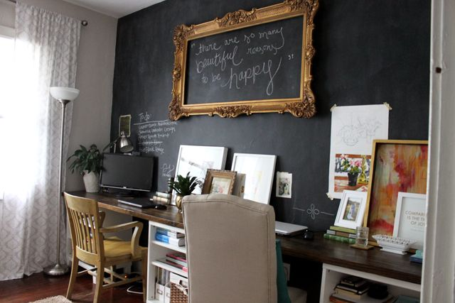 gold + black chalkboard wall