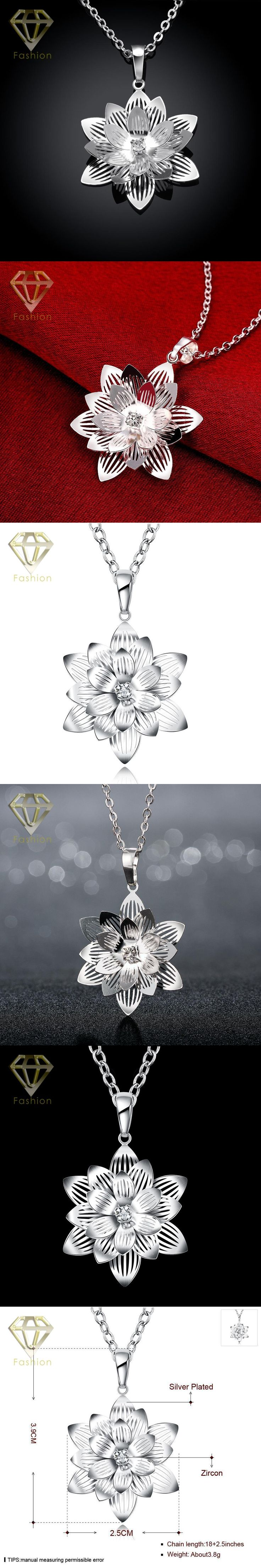 Mother Daughter Necklace New Design Fashion Elagant Silver Plated Jewelry Long Chain Big Lotus Flower Pendant Necklace for Women
