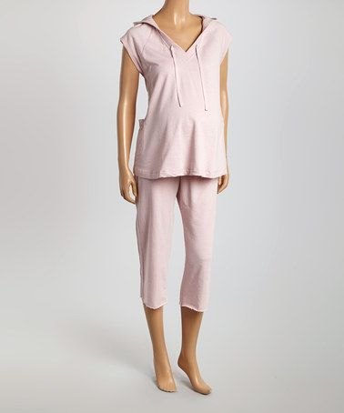 Loving this Heather Pink Maternity Hoodie & Capri Pants - Women on #zulily! #zulilyfinds
