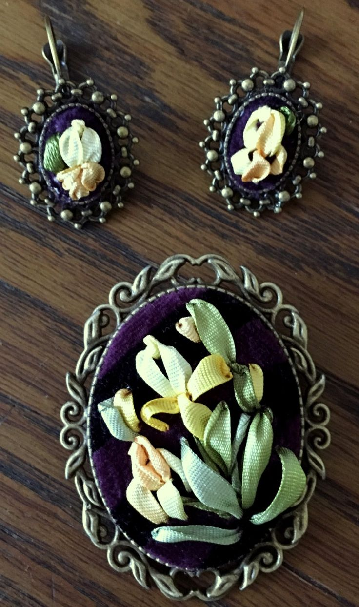 Decoration set for women. Handmade silk ribbon embroidery. Brooch and earrings by RibbonEmbroiderySilk on Etsy