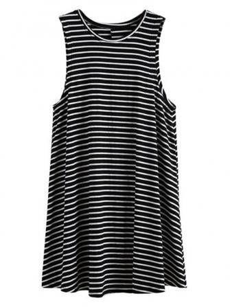 Women Loose Sleeveless Round Neck Stripe Mini Cotton Dress