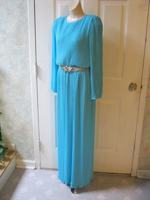 Vintage Mid-Century Türkis Kleid, türkis Kristall plissiert knöchellangen Kleid, formale türkis Slim Fit Kleid Größe 8 Made in USA