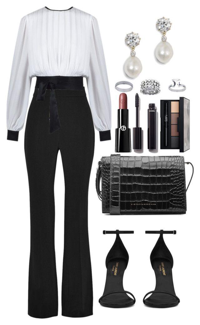 Untitled #4510 by dudas2pinheiro on Polyvore featuring polyvore fashion style Cushnie Et Ochs Yves Saint Laurent Victoria Beckham Topshop NARS Cosmetics Chanel Giorgio Armani clothing
