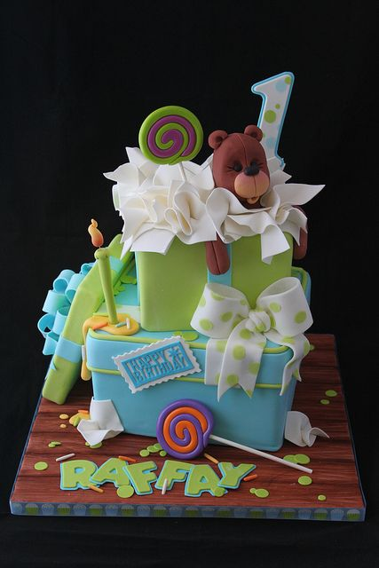 Stacked gift box cake by Andrea's SweetCakes, via Flickr