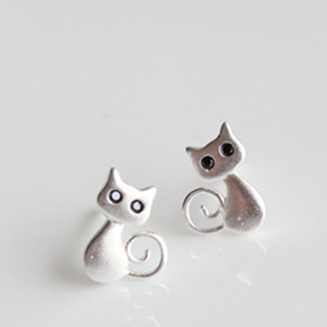 Real 925 sterling silver jewelry female cute animal cat earring small stud earring for girls wholesale Ute1130