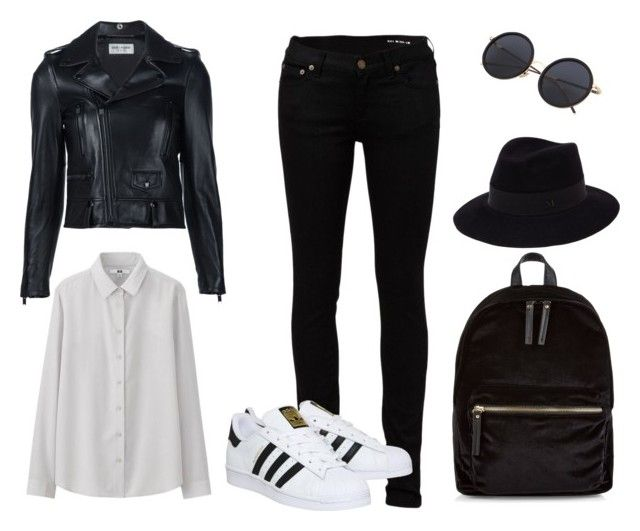 clasico by luziagalvang on Polyvore featuring moda, Uniqlo, Yves Saint Laurent, adidas, New Look and Maison Michel