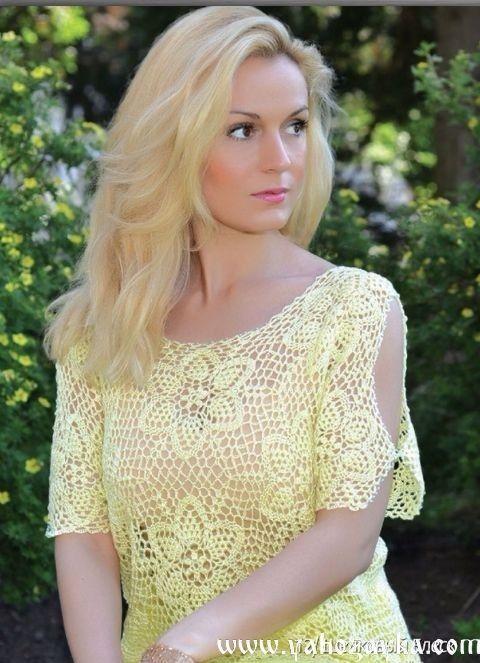 Жёлтая блузка мотивами крючком. Вязаная своими руками блузка из схемами | Я Хозяйка