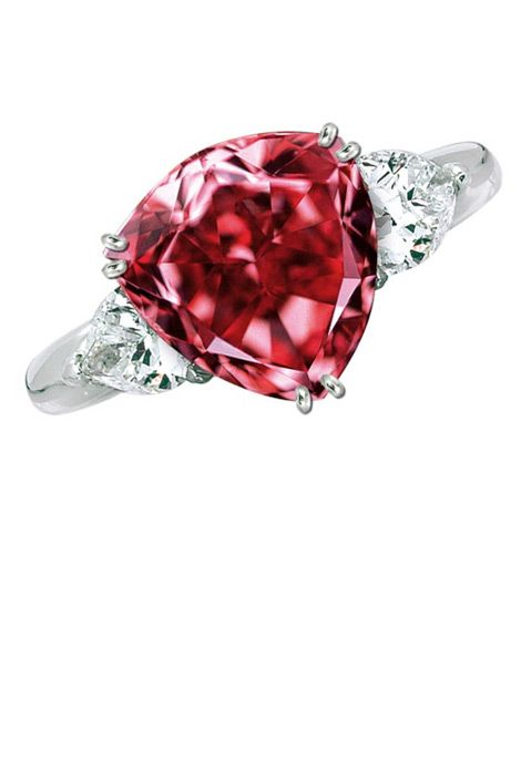 """Moussaieff Red Diamond ($7 million) Once known as the Red Shield Diamond, the Moussaieff Red is the largest Fancy Red diamond in the world at 5.11 carats. Discovered in Brazil in the 1990s, the diamond has a triangular brilliant cut (also known as a trilliant cut) and was most recently displayed at the 2003 """"Splendor of Diamonds"""" exhibit at the Smithsonian."""
