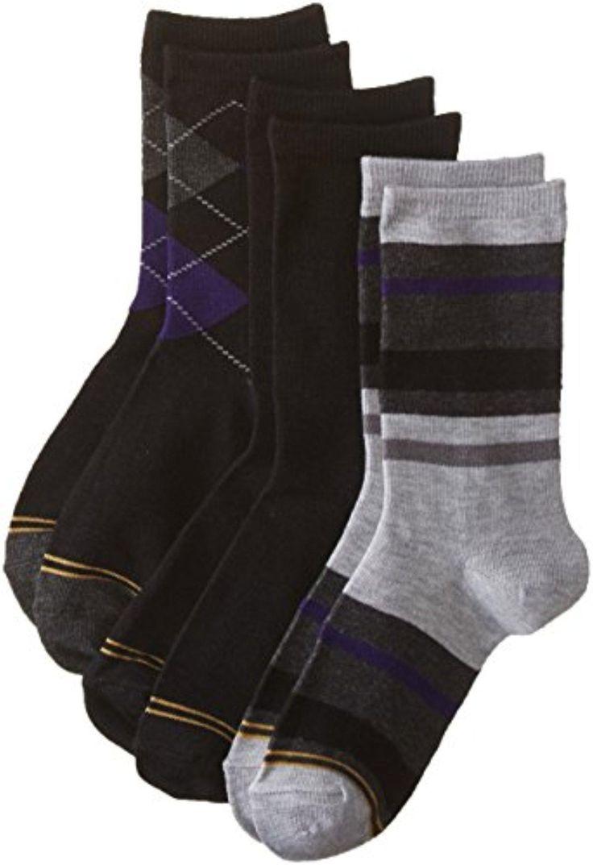 Gold Toe Big Boys' 3 Pack Fashion Dress Crew, Black Purple Argyle/Black/Stripe Grey/Heather Purple, Medium - Brought to you by Avarsha.com