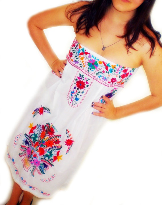 flor de luna  mexican embroidered dress