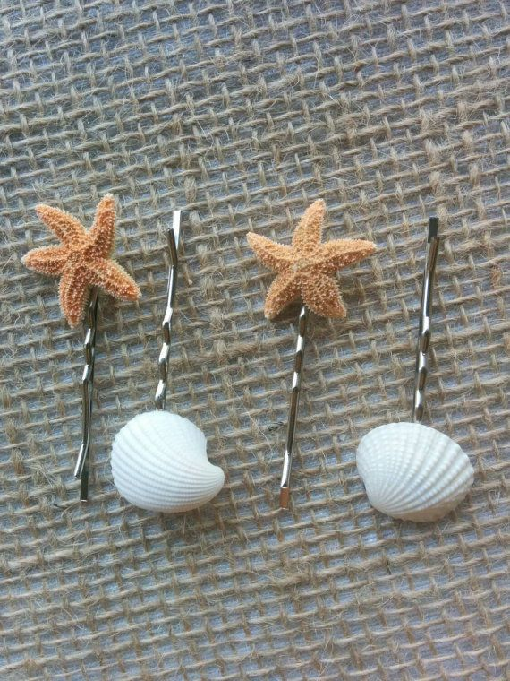 Starfish Hair Accessories, Seashell Hair Clips - 4 PC Beach Decor, Beach Wedding, Mermaid Hair