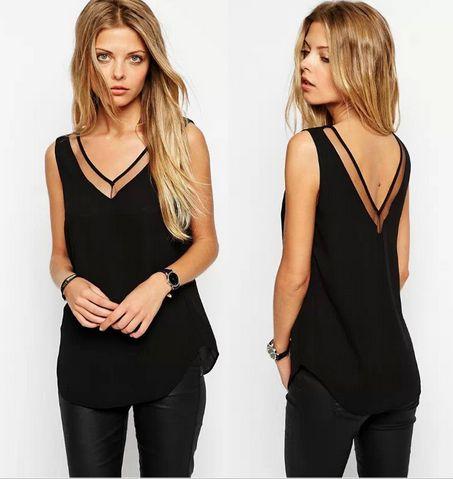Women's V-Neck Sleeveless Blouse - 2 Colors!