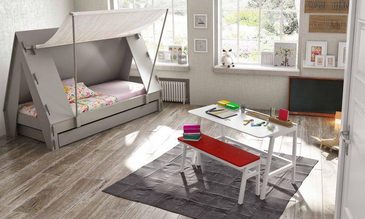 Cama nido en forma de tienda de acampar para pequeños e intrépidos aventureros - Minimoi