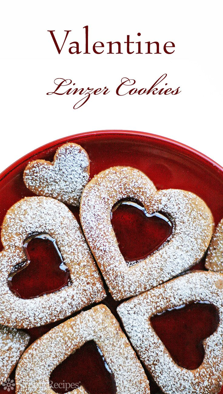 Valentine Linzer Cookies ~ Linzer cookies recipe with ground almonds and raspberry jam. ~ SimplyRecipes.com