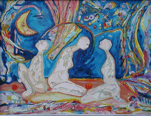"""""""Tormentone Hippie"""", gif animata su intarsio pittorico originale di Angiola Tremonti: Canto lunare, dimensioni 80x60"""