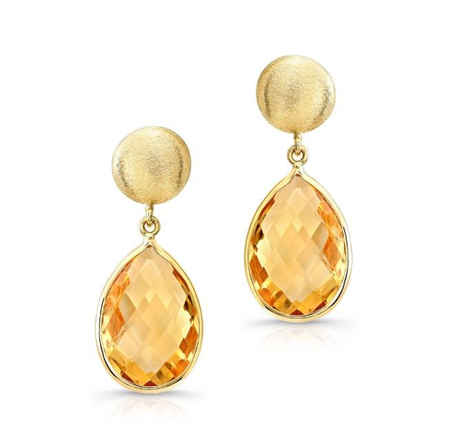14kt Yellow Gold Citrine Pear Drop Earrings Measure Roximately 1 In Length