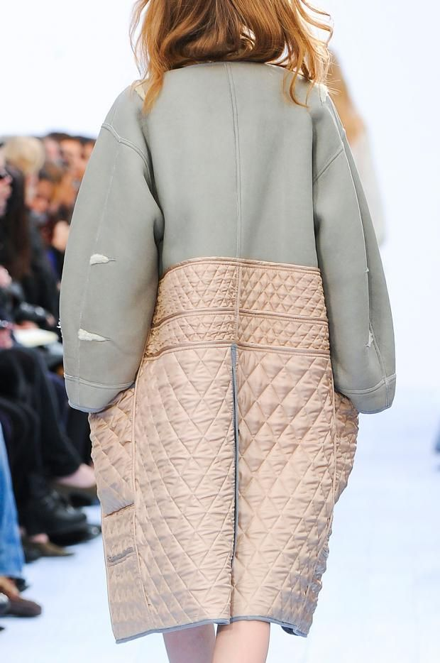 Try mixing the scale of your quilted patterns in your custom fabrics. I love the way the fabric in the middle of this coat is filled with small diamonds, but the skirt of the coat is filled with large diamonds. / Chloe FW 2012