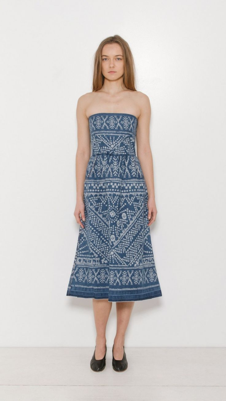 Sea NY Bleached Strapless Dress in Indigo | The Dreslyn