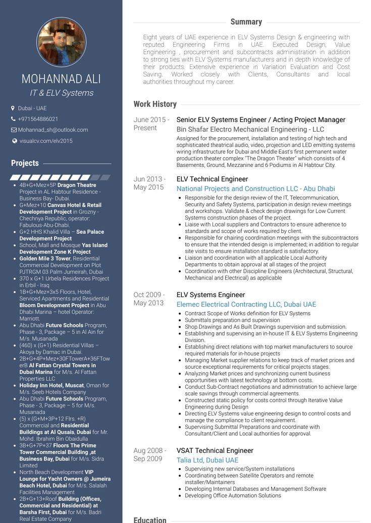 Mechanical engineer visual resume in 2020 engineering