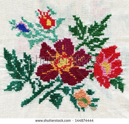 STANITSA LUGANSKAYA - OCT 17: traditional Russian cross-stitch, Russia, 19th century, exhibition in the museum, Stanitsa Luganskaya, Lugansk Region,Ukraine, October 17, 2012